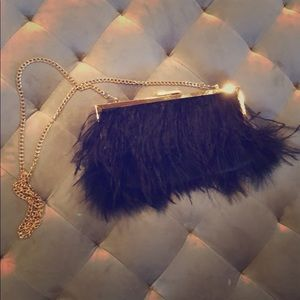 BEBE BLACK FEATHER PURSE WITH GOLD CHAIN